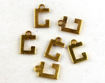 12x Vintage Brass Initial Charms - M030-G