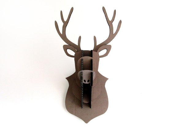 Cardboard Flat Pack Stags Head Wall Hanging By Ohbotherdesign