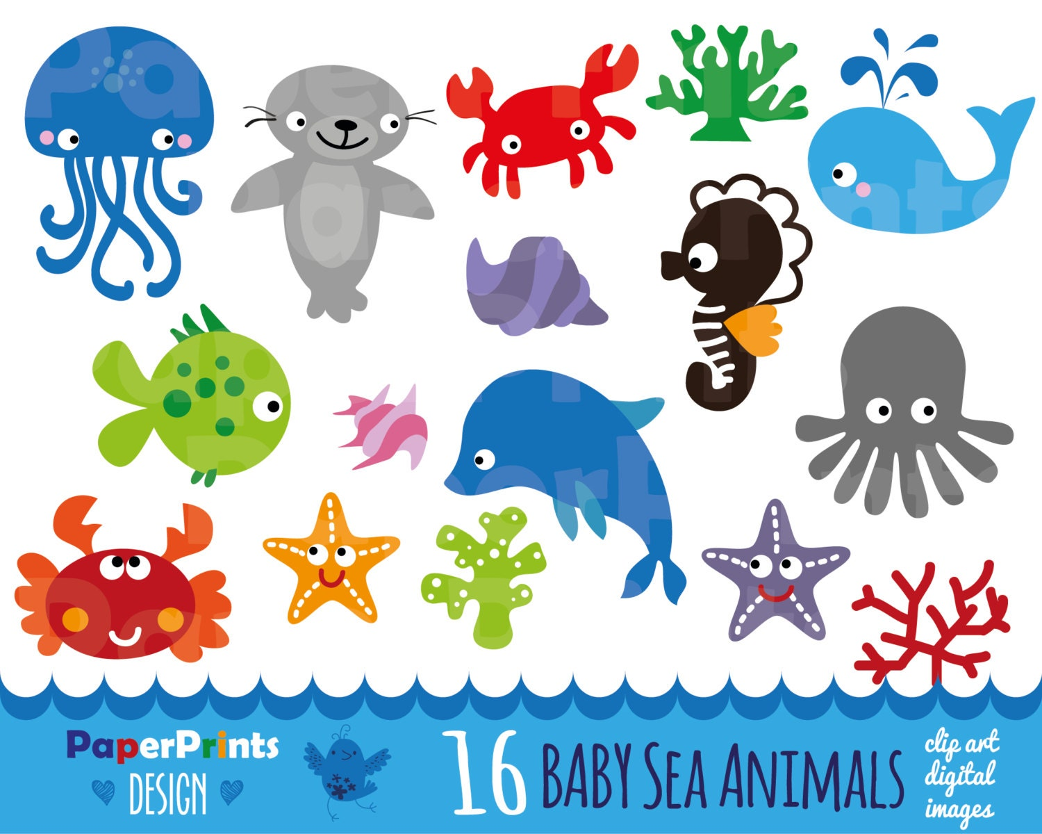 16 baby sea animals sea animals patterns sea by PaperPrintsDesign