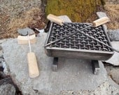 Welded Metal Hibachi Grill for Two with Wood Handle Skewers, Meat & Vegetable Turner and Utensil Rest
