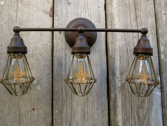 Vintage Industrial Urban Barn Vanity Light By CityandSeaVintage