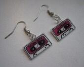 Pink Mix-Tape Dangle Earrings, Handmade & Illustrated