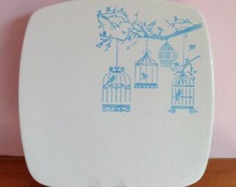 Hand Painted Ceramic Square Sushi Plate - Vintage Bird Cage Design