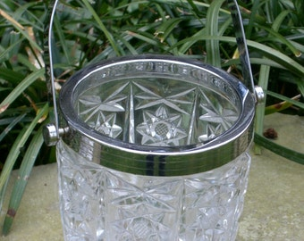 Ice Bucket - Chrome Handle - Pressed Glass - Vintage