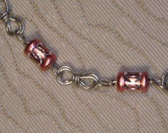 Swarovski Tube Bead and Silver Wire Bracelet