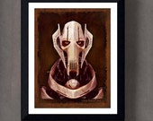"Fine Art Print: - ""Vintage General Grievous portrait from Star Wars"" - 8"" x 10"" Giclee print, Star Wars Fan art, Nerd Gift, Geekery"