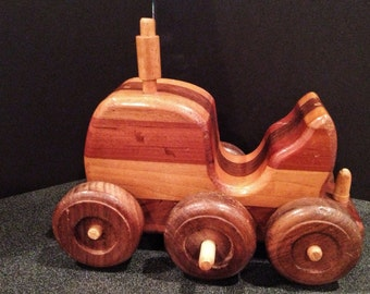 Set of six vintage 1970's wooden toy cars. One by Montgomery Schoolhouse.