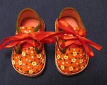 Custom Hand Painted Infant Shoes, Children's Red Lace Up Canvas Shoes With White Flowers, Oxford Style Shoes For Your Little Girl Sold!!!