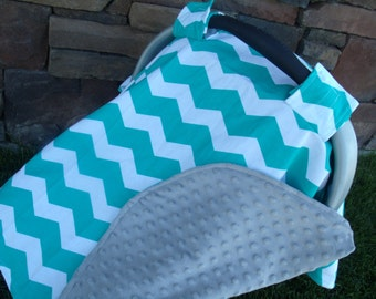 Carseat Canopy Minky Teal Chevron Blanket Cover car seat canopy car seat cover nursing cover