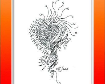 Heart, Black and White Graphic Print, Reproduced from Original Pencil Drawing