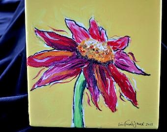 6 x 6 Custom Zinnia Flower painting wraps around canvas  Ready to hang.