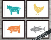 Beef, Chicken, Pork and Tuna (Butcher Diagram Series) - Set of 4 - Art Prints (Featured in Assorted Colors) Kitchen Prints