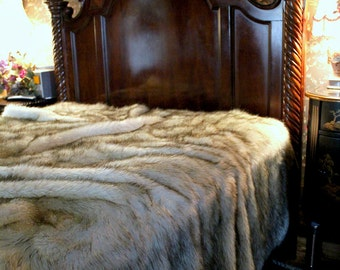 Faux Fur Bedspread - Comforter - Duvet - Throw Blanket - Russian Wolf - White With Black Tips or Brown Tips Lined with Soft Minky Cuddle Fur