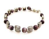 Purple & Silver Bead Bracelet - Hand Made Jewelry by Nicole Cara.