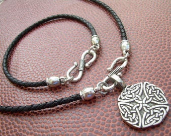 Leather Necklace and Leather Bracelet Set , Celtic Pendant , Mens Jewelry, Womens Jewelry, Leather Necklace, Leather Bracelet, Celtic