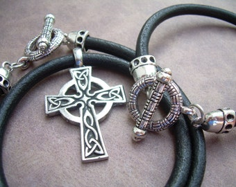 Leather Necklace and Leather Bracelet Set , Celtic Cross Pendant , Mens Jewelry, Leather Necklace, Leather Bracelet, Celtic, Cross