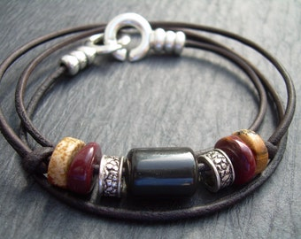 Leather Bracelet, Gemstone Bracelet, Triple Wrap,  Mens Bracelet, Womens Bracelet, Mens Jewelry, Womens Jewelry