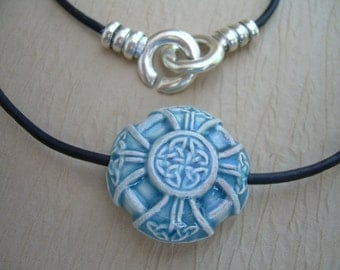 Leather Necklace, Celtic Knot Pendant , Mens Necklace, Womens Necklace, Womens Jewelry, Mens Jewelry