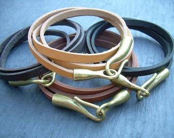 Flat Leather  Bracelet, Wrap Bracelet, Leather Bracelet, Hook Clasp, Womens Bracelet, Mens Bracelet, Womens Jewelry, Mens Jewelry
