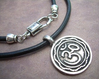 Om Pendant Leather Necklace, Om Necklace, Om Pendant, Mens Necklace, Womens Necklace, Mens Jewelry, Womens Jewelry,Leather Necklace, Jewelry
