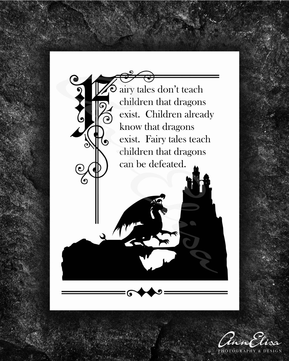 There Be Dragons Quote: Illuminated Fairy Tale Quote With Dragon Sihlouette
