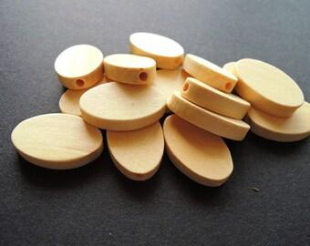 25 Pcs 25X16mm Flat Oval Natural Wood Bead   (W028)