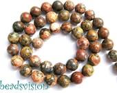 Red Leopard skin Jasper beads 8mm strand