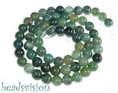 Moss Agate 6 mm, 1 strand balls green Agate Round