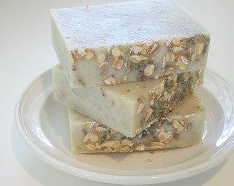 Soap - LAVENDER OATMEAL Olive Oil and Silk Handcrafted Naked Soap Slicce.  Handmade Soap. Natural Essential Oil Soap.