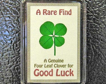 Good Luck Fridge Magnet with a Real Genuine Four Leaf Clover - MGL-4M