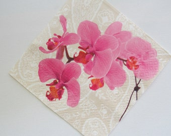 Paper napkin for decoupage, Floral napkin, Pink Orchid,