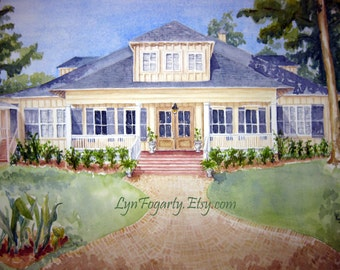 Deposit for Original Custom Watercolor Home Portrait Commission - Remainder (150) due at completion.