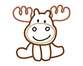 INSTANT DOWNLOAD Cute Moose Machine Applique Embroidery Design