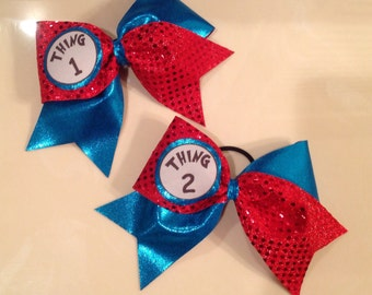 3 inch Thing 1 and Thing 2 bows