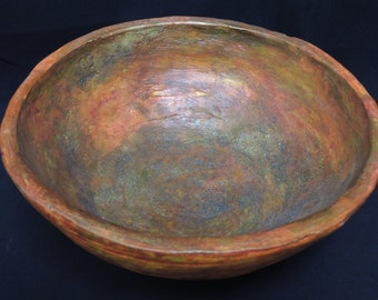 Burnt sienna, acrylic ink, micaceous iron oxide handmade bowl.