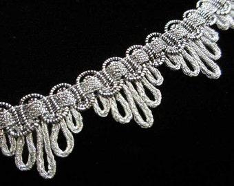 "725.4 Metallic gimp trim - ""Bearclaw"" antique-silver - 7/8"" (22mm)"