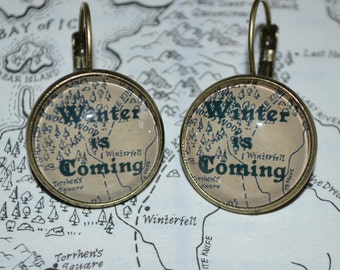 Game of Thrones Earrings in Antique Bronze 18mm Setting - Winter is coming