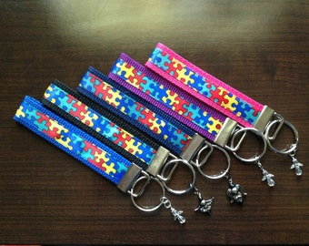 Autism Awareness Key Chain Wristlet