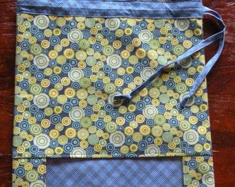 Canvas Drawstring Bag with See-Thru Panel--Blue/Green Circles