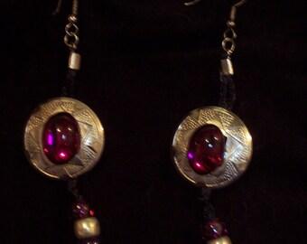 Handcrafted Magenta Plastic Bead Western Earrings