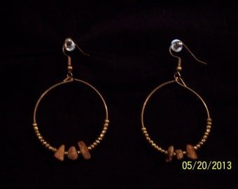 Handcrafted Gold Bead and Tiger Eye Chip Earrings #90