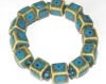 Evil eye porcelain bracelet, bugle beaded bracelet, evil eye blue elastic bracelet, square beaded bracelet, blue beaded bracelet