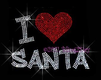 I Love Santa - Heart - Iron on Rhinestone Transfer Bling Hot Fix Applique Christmas Claus Holiday - DIY