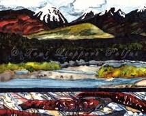 Alaska River Salmon Painting, print of original watercolor painting, Alaska landscape, Salmon Art, Sockeye Salmon, Mountain Painting