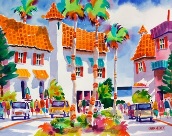 Venice Beach Florida, Tropical Watercolor Print, 5 x 7, 8 x 10, 11 x 14, Negley, Beach Art, Beach Painting, Tropical Watercolor Painting