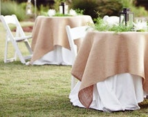 """Set of two Square Burlap Tableclothes  54"""" x 54"""" - Wedding Runner"""
