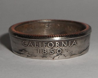 CALIFORNIA us quarter  coin ring size  or pendant
