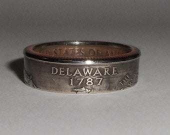 DELAWARE  us quarter  coin ring size  or pendant