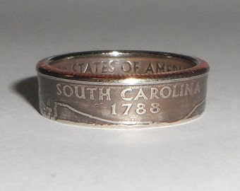 SOUTH CAROLINA   us quarter  coin ring size  or pendant
