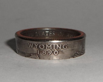 WYOMING us quarter  coin ring size  or pendant